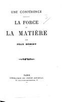 Une Conf  rence  La Force et la Mati  re PDF