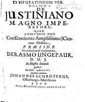 Disputationes Vernales: De Iustiniano Magno Imperatore. I.