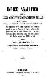 Indice Analitico delli ... leggi di procedura: Volume 1