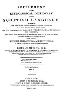 Supplement to the Etymological Dictionary of the Scottish Language     Book