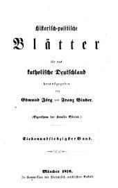 Historisch-politische Blätter für das katholische Deutschland: Band 77