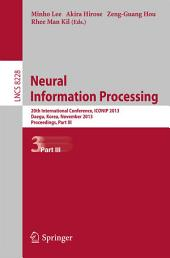 Neural Information Processing: 20th International Conference, ICONIP 2013, Daegu, Korea, November 3-7, 2013. Proceedings, Part 3