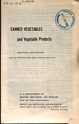 Canned Vegetables and Vegetable Products