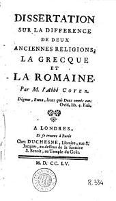 Dissertation sur la difference de deux anciennes religions: la grecque et la romaine