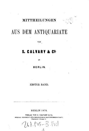 Mittheilungen aus dem Antiquariate von S  Calvary   Co in Berlin PDF