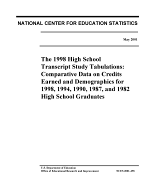 The 1998 high school transcript study tabulations : comparative data on credits earned and demographics for 1998, 1994, 1990, 1987, and 1982 high school graduates