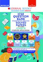Oswaal ICSE Question Bank Class 10 Computer Applications Book Chapterwise   Topicwise  Reduced Syllabus   For 2022 Exam  PDF