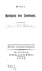 Ueber Reinheit der Tonkunst: Mit d. Portrait Palestrinas