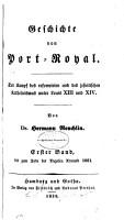 Geschichte von Port Royal  Bd  Bis zum Tode der Angelica Arnauld 1661 PDF