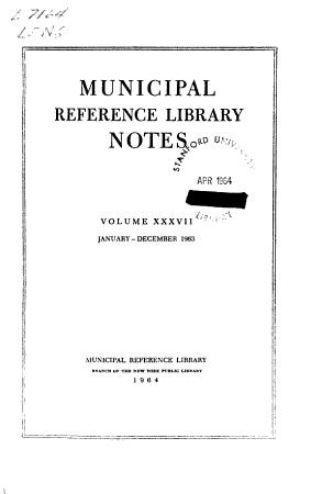 Municipal Reference Library Notes PDF