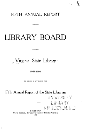 Annual Report of the Library Board of the Virginia State Library