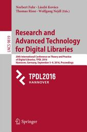 Research and Advanced Technology for Digital Libraries: 20th International Conference on Theory and Practice of Digital Libraries, TPDL 2016, Hannover, Germany, September 5–9, 2016, Proceedings