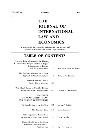 The Journal of international law and economics PDF
