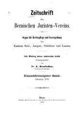 Zeitschrift des Bernischen Juristenvereins: Revue de la Société des juristes bernois, Band 31;Band 1895