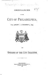 Ordinances and Joint Resolutions of the City of Philadelphia
