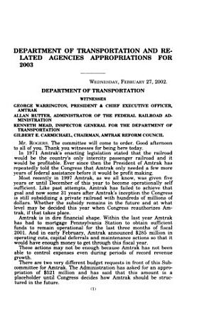 Department of Transportation and Related Agencies Appropriations for 2003  Department of Transportation  Federal Railroad Administration PDF