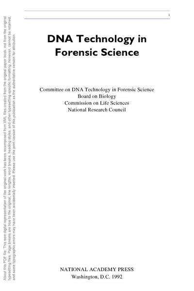 Download DNA Technology in Forensic Science Book