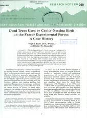 Dead trees used by cavity-nesting birds on the Fraser Experimental Forest: a case history