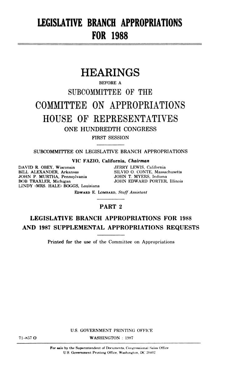 Legislative Branch appropriations for 1988