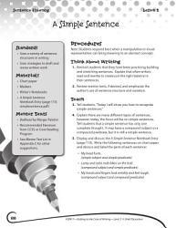 Writing Lesson Level 3 A Simple Sentence Book PDF