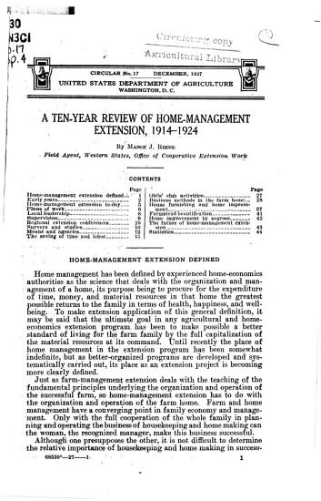 A Ten year Review of Home management Extension  1914 1924 PDF