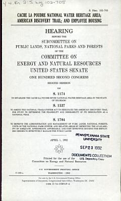 Cache La Poudre National Water Heritage Area  American Discovery Trail  and Employee Housing PDF