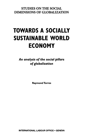 Towards a Socially Sustainable World Economy PDF