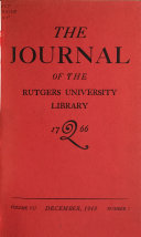 Download The Journal of the Rutgers University Library Book