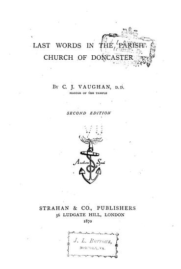 Last Words in the Parish Church of Doncaster PDF