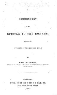 A Commentary on the Epistle to the Romans Book