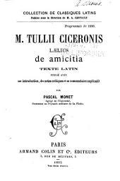 M. Tullii Ciceronis Lælius de amicitia: texte Latin