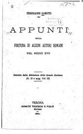 Appunti sulla fortuna di alcuni autori romani nel medio evo