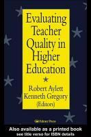 Evaluating Teacher Quality in Higher Education PDF