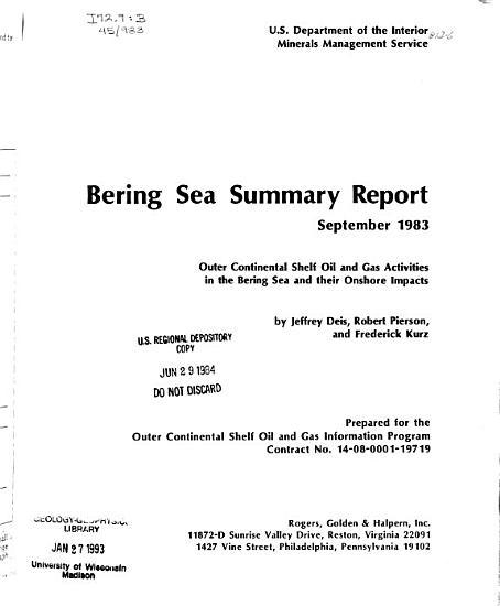 Bering Sea Summary Report PDF