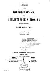 Réponse à une incroyable attaque de la Bibliothèque nationale touchant une lettre de Michel de Montaigne