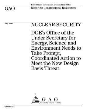 Nuclear security DOE s Office of the Under Secretary for Energy  Science and Environment needs to take prompt  coordinated action to meet the new design basis threat   report to congressional requesters  PDF