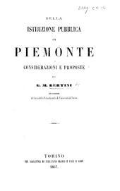 Della istruzione pubblica in Piemonte. Considerazioni e proposte