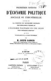 Premieres notions d'èconomie politique sociale ou industrielle
