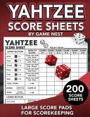 Yahtzee Score Sheets