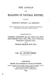 The annals and magazine of natural history, zoology, botany and geology: incorporating the journal of botany, Volume 3