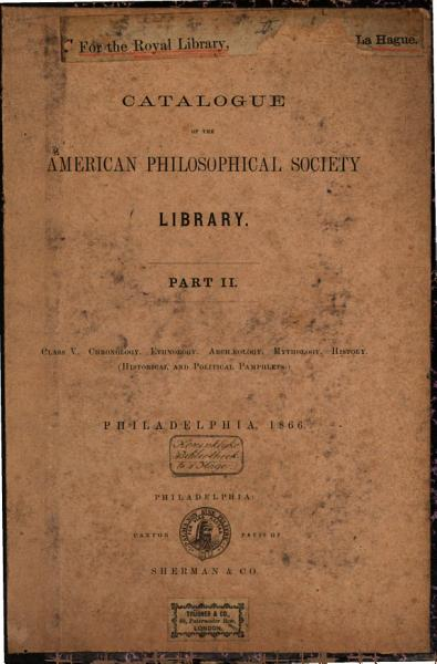 Download Catalogue of the American Philosophical Society Library Book