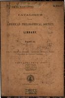 Catalogue of the American Philosophical Society Library PDF