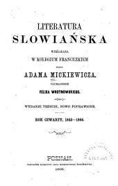 Literatura słowiańska: Rok czwarty, 1843-1844