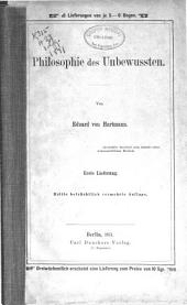 Philosophie des Unbewussten: Band 1