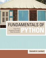 Fundamentals of Python  From First Programs through Data Structures PDF
