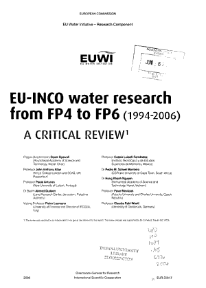 EU INCO Water Research from FP4 to FP6  1994 2006  PDF