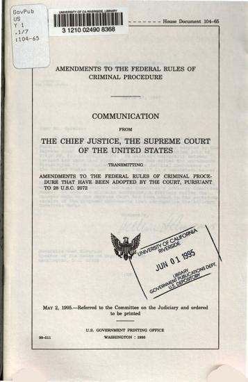 Amendments to the Federal Rules of Criminal Procedure PDF