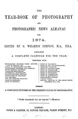 The Year book of Photography and Photographic News Almanac for