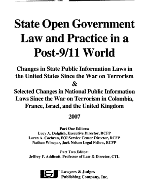 State Open Government Law and Practice in a Post 9 11 World PDF