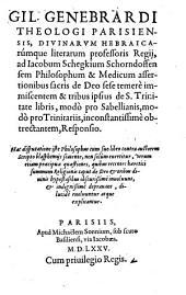 Ad Jacobum Schegkium ...assertionibus sacris de Dio sese temere immiscentem ... responsio